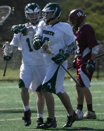 Manchester: Manchester Essex's Jack Bishop, right, congratulates teammate Jim Finn on his goal against Gloucester during their game at Coach Ed Field Field yesterday afternoon. Photo by Kate Glass/Gloucester Daily Times