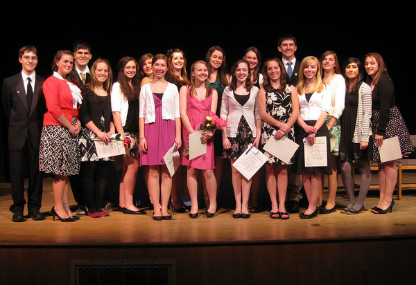 """The National Honor Society of Rockport High School inducted 18 new members at a special ceremony this week. The new members are: (From left to right) Alek Razdan, Kaylee Stanton, Nathan Cruz, Kristen Sanfilippo, Rachel Rowe, Sydney Colussi, Sara Carbone, Allie Pike, Katherine """"Kate"""" Lawrenece, Emily Good, Emma Ottenheimer, Stasia Furber, JoAnna Peters, David Fox, Madison Larson, Madison Symes, Getey Anwar and Carolyn Tucker. Photo by Gail McCarthy/Gloucester Daily Times"""
