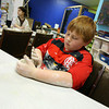 """Gloucester: Bradley Chamberlain makes a mug for his mom at Cape Ann Art Haven Monday afternoon. Chamberlain plans to give the mug as a Mothers Day present because his mom """"really loves coffee."""" Photo by Kate Glass/Gloucester Daily Times"""