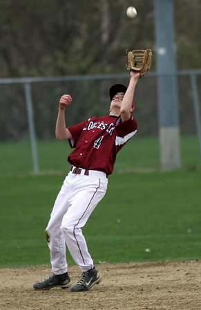 Gloucester: Gloucester shortstop MacKenzie Quinn leans back to catch a pop-up during their game against St. John's Prep yesterday afternoon. Photo by Kate Glass/Gloucester Daily Times