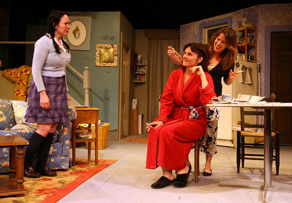 """Gloucester: Tillie, played by Lauren Suchecki, Beatrice, played by Emily Sinagra, and Ruth, played by Wendy Dagle, rehearse a scene from the Cape Ann Theatre Collaborative's production of """"The Effect of Gamma Rays on Man-in-the-Moon Marigolds"""" by Paul Zindel. The performance will be at the Gorton Theatre, home of Gloucester Stage Company, on April 30, May 1, 2. Photo by Kate Glass/Gloucester Daily Times"""