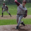 Rockport: Rockport pitcher Mike Emerson dealt with a variety of weather conditions, including rain, which forced the Vikings to postpone the last inning of their game against Manchester Essex yesterday. Photo by Kate Glass/Gloucester Daily Times