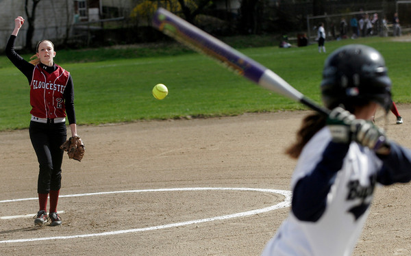 Gloucester: Gloucester pitcher Alex Levie throws to Swampscott's Tori Wharff during their game at Burnham Field yesterday afternoon. Photo by Kate Glass/Gloucester Daily Times