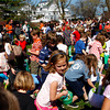 Rockport: Hundreds of kids turned out for a chance at getting as much candy as they could during the annual Rockport Easter egg hunt at Millbrook Meadow Saturday afternoon.  Pictured front is Emma Christopher, 7, of Rockport. Mary Muckenhoupt/Gloucester Daily Times