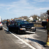 Gloucester: A three car accident on the Rt. 128 extension closed part of a lane Wednesday afternoon. The car seen here had the most damage and there was no injuries reported from any of the three vehicles. Pictured right is Gloucester firefighter Dan Kennedy.  Mary Muckenhoupt/Gloucester Daily Times