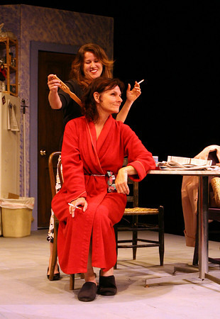 """Gloucester: Ruth, played by Wendy Dagle, and Beatrice, played by Emily Sinagra, rehearse a scene from the Cape Ann Theatre Collaborative's production of """"The Effect of Gamma Rays on Man-in-the-Moon Marigolds"""" by Paul Zindel. The performance will be at the Gorton Theatre, home of Gloucester Stage Company, on April 30, May 1, 2. Photo by Kate Glass/Gloucester Daily Times"""