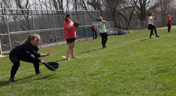 Rockport: Rockport senior second baseman practices fielding with the team yesterday afternoon. Photo by Kate Glass/Gloucester Daily Times