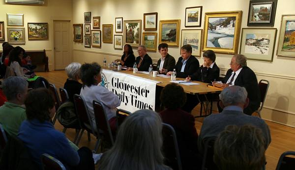 Rockport: Five write-in candidates for an open Rockport selectman's seat participate in a debate hosted by the Gloucester Daily Times at the Rockport Art Association last night. The candidates are: Maria Clements, Herb Wescott, Eoin Vincent, Jonathan Weaver, and Frances Fleming. The debate was moderated by the paper's editor, Ray Lamont. Photo by Kate Glass/Gloucester Daily Times