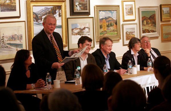 Rockport: Herb Wescott jokes as he answers a question during a debate between the five write-in candidates for the open Rockport selectman's seat at the Rockport Art Association on Thursday night. The other candidates are Maria Clements, Eoin Vincent, Jonathan Weaver and Frances Fleming. The debate was hosted by the Gloucester Daily Times and moderated by the paper's editor, Ray Lamont, far right. Photo by Kate Glass/Gloucester Daily Times
