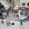 Rockport: Joe Christensen, a well-known potter from Minnesota, conducts a workshop at Cynthia Curtis Pottery yesterday afternoon. Today from 12-4 Christensen will be glazing a pot he made during a workshop last year as well as demonstrating his technique for altering and carving pots.  Photo by Kate Glass/Gloucester Daily Times