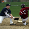 Gloucester: St. John's Prep's Justin Peluso reaches to tag Gloucester's Conor Ressel as he attempts to steal second base yesterday afternoon. Ressel was called out. Photo by Kate Glass/Gloucester Daily Times