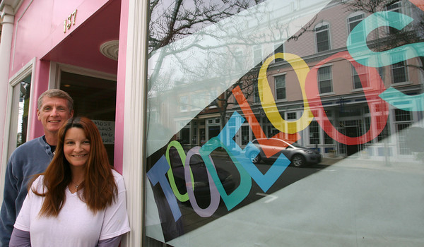 Gloucester: Don Boye and Susan Parent will be opening their toy store, Toodeloos, on Main Street in Gloucester Memorial Day weekend. Photo by Kate Glass/Gloucester Daily Times