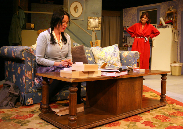 """Gloucester: Tillie, played by Lauren Suchecki, and Beatrice, played by Emily Sinagra, rehearse a scene from the Cape Ann Theatre Collaborative's production of """"The Effect of Gamma Rays on Man-in-the-Moon Marigolds"""" by Paul Zindel. The performance will be at the Gorton Theatre, home of Gloucester Stage Company, on April 30, May 1, 2. Photo by Kate Glass/Gloucester Daily Times"""