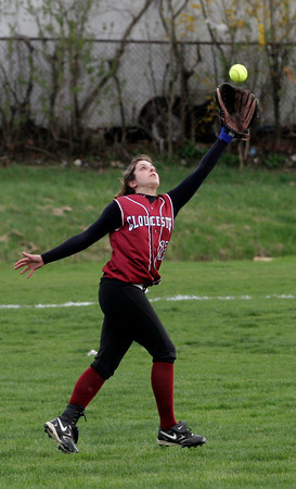 Gloucester: Gloucester's Sam Saputo runs to catch a fly ball in center field during their game against Swampscott at Burnham Field yesterday afternoon. Photo by Kate Glass/Gloucester Daily Times