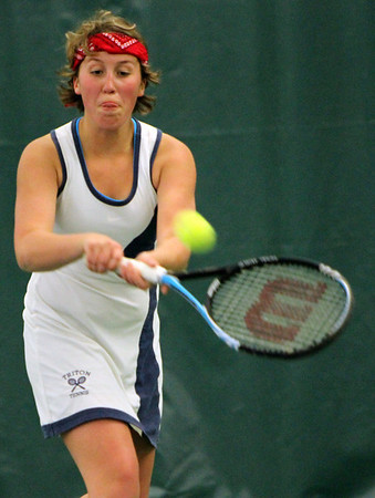ALLEGRA BOVERMAN/Staff photo. Gloucester Daily Times. Manchester: Triton's second singles player Alexa Bryant, a sophomore, in action against Manchester-Essex's Kendall McCormick during their match at Manchester Athletic Club on Monday.
