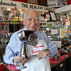 ALLEGRA BOVERMAN/Staff photo. Gloucester Daily Times. Manchester: Chris Nahatis of Manchester, is the longtime face and voice of Saladmaster with the flagship product, the Saladmaster Machine, in his Manchester shop, in the house where he grew up.