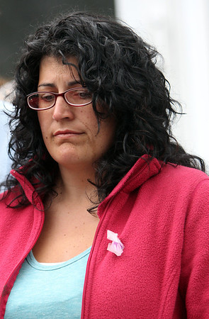 ALLEGRA BOVERMAN/Staff photo. Gloucester Daily Times. Gloucester: Allison Hammond, mother of missing toddler Caleigh Harrison, 2 1/2, at the Harrison family home during a press conference on Wednesday afternoon.