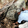 ALLEGRA BOVERMAN/Staff photographer. Gloucester Daily Times. Gloucester: Eric Hutchins, habitat restoration specialist at NOAA, examines a small vernal pool area near the Little River Fish Ladder, to see if there was any water in it and whether any amphibian eggs are present on Tuesday.