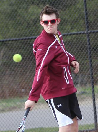 ALLEGRA BOVERMAN/Staff photo. Gloucester Daily Times. Gloucester: Jon Perry a Rockport High School junior, plays on the Gloucester High School tennis team.