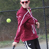 ALLEGRA BOVERMAN/Staff photo. Gloucester Daily Times. Gloucester: Jon Perry a Rockport High School junior, plays on the Gloucester High School tennis team.