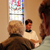 ALLEGRA BOVERMAN/Staff photo. Gloucester Daily Times. Gloucester: During The Way of the Cross service inside the St. John's Episcopal Church sanctuary on Friday. The Rev. Bret Hays presided at the Ninth Station, where Jesus falls for a third time.