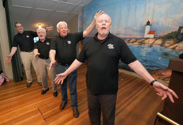 """Gloucester:  From the left: Scott Deffer, John Fleming, Hank Betts, and Curt Siebert sing """"Stairway to Paradise""""  during a """"Share the Music"""" rehearsal at Annisquam Town Hall. Jim Vaiknoras/staff photo"""