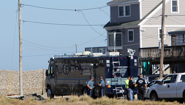 ALLEGRA BOVERMAN/Staff photo. Gloucester Daily Times. Rockport: The Massachustts State Police Incident Command vehicle was on the scene at Glenmere Street very close to the Long Beach spot where Caleigh Harrison, 2 1/2, of Gloucester, went missing on Thursday.
