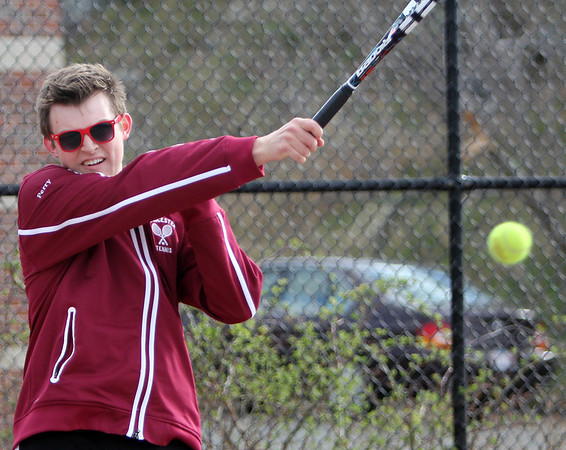ALLEGRA BOVERMAN/Staff photo. Gloucester Daily Times. Gloucester: Jon Perry, a Rockport High School junior, is on the Gloucester High School boys tennis team.