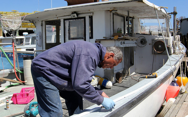 """ALLEGRA BOVERMAN/Staff photographer. Gloucester Daily Times. Gloucester: Ron Riley of Gloucester fixes the rail on his lobster boat, """"My Girls II"""" on Monday morning in the city wharf at the 1-4, C-2 site."""
