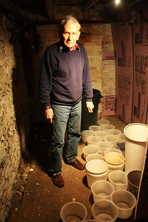 Jack Carter, co-owner of Raymond Alger Gallery on Pleasant Street, stands in gallery's basement where he has finally began to remove some of the buckets that have been catching water for the past year, though many still remain. The water damage, initially caused by a fire in the neighboring building and the water used to put it out, is still very evident. Jesse Poole/Gloucester Daily Times April 12, 2012