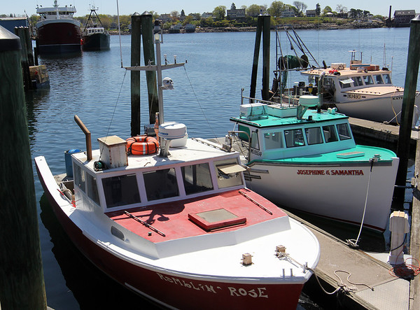 ALLEGRA BOVERMAN/Staff photographer. Gloucester Daily Times. Gloucester: Lobster boats at the city wharf at the 1-4, C-2 site.