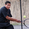 ALLEGRA BOVERMAN/Staff photo. Gloucester Daily Times. Gloucester: Cameron Davis, a Gloucester High School senior, plays on the Gloucester High School tennis team.