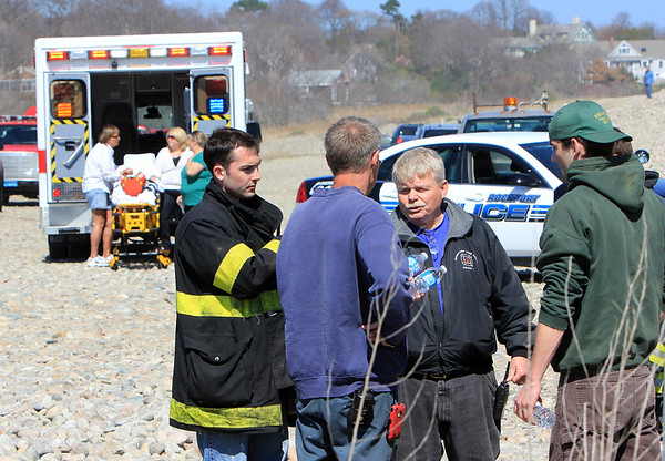 ALLEGRA BOVERMAN/Staff photo. Gloucester Daily Times. Rockport: People were searching along Long Beach on the Rockport side and at Cape Hedge Beach vicinity where Caleigh Harrison, 2 1/2, of Gloucester, went missing on Thursday.
