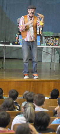 Gloucester:David Zucker wows the 4th and 5th graders at East Gloucester Elementary school  performing, and reading poetry.  Along with Zucker,  Gloucester Poet Laureate, Ruthanne Collinson, and Gloucester author/artist, Pat Lowery Collins dd reading and talked about the importants of poetry. Jim Vaiknoras/staff photo