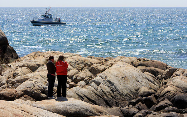 ALLEGRA BOVERMAN/Staff photo. Gloucester Daily Times. Rockport: The State Police divers were searching Long Beach and Cape Hedge Beach waters on Thursday. This is a view from Long Beach's boardwalk.