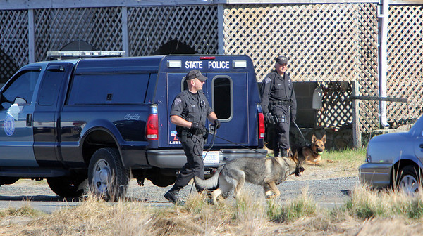 ALLEGRA BOVERMAN/Staff photo. Gloucester Daily Times. Rockport: At least two K-9 units were searching from house to house on Glenmere Street in the vicinity where Caleigh Harrison, 2 1/2, of Gloucester, went missing on Thursday at Cape Hedge Beach.