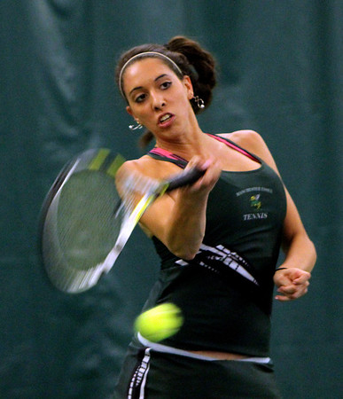 ALLEGRA BOVERMAN/Staff photo. Gloucester Daily Times. Manchester: Manchester-Essex's first singles player Michelle Fuca, a sophomore, in action against Triton's Sydney White, a senior, at Manchester Athletic Club on Monday.