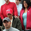 ALLEGRA BOVERMAN/Staff photo. Gloucester Daily Times. Gloucester: <br /> Members of the Harrison family at a press conference they held at their home in Gloucester on Wednesday afternoon. At bottom is David Harrison, Jr. Behind him in the second row, center is Anthony Harrison, father of missing toddler Caleigh Harrison, next to him at right is Allison Hammond, Caleigh's mother. With his hands on Anthony's shoulders is David Harrison, Sr., Caleigh's paternal grandfather. They are surrounded by other Harrison family members.