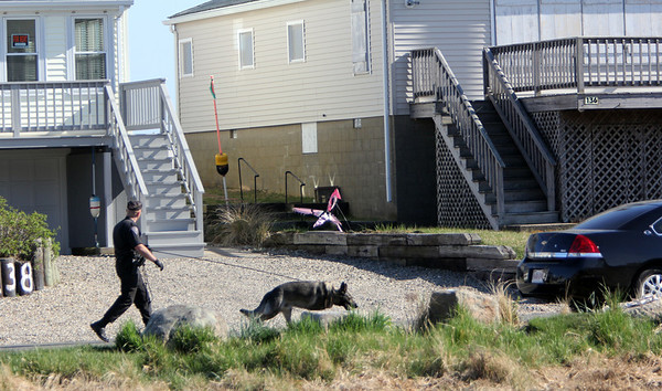 ALLEGRA BOVERMAN/Staff photo. Gloucester Daily Times. Rockport: At least two K-9 units were searching from house to house on Glenmere Street in the vicinity where Caleigh Harrison, 2 1/2, of Gloucester went missing on Thursday.
