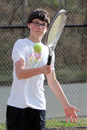 ALLEGRA BOVERMAN/Staff photo. Gloucester Daily Times. Gloucester: <br /> Chris Wile, a Rockport High School junior, plays on the Gloucester High School tennis team.