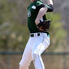 DAVID LE/Staff photo. Manchester-Essex pitcher Harry Painter fires a pitch against Pentucket on Saturday afternoon. 4/23/16.