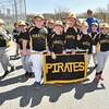 "Desi Smith/Staff photo.   The Pirates make their way down Dr. Osman Babson Road during the Gloucester Little League parade and season openner Saturday morning on Dr. Osman Babson Road, where they also held a field dedication ceremony naming a new field in honor of Harold ""Bucky"" Rogers.      April 30,2016"