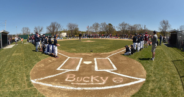 "Desi Smith/Staff photo.   Bucky is printed in the dirt at home plate for a field dedication to Harold ""Bucky"" Rogers, after the Gloucester Little League parade and season openner Saturday morning on Dr. Osman Babson Road.   April 30,2016"