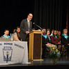 Desi Smith/Staff photo.   Superintendent of Schools Dr. Richard Safier delivers his welcoming address during the National Honor Society Ceremony held Tuesday night at the Gloucester High School.  April 26,2016