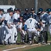 Desi Smith/Staff photo.     Danvers Danny Lynch (7) is greeted at home plate after hitting a solo homerun in the top of the first Wednesday afternoon against Gloucester at Nate Ross Field at O'Maley School.  April 27,2016