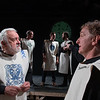 Desi Smith/Staff photo.   Ray Jenness (Gloucester) left, and Stephen Turner right, (Kent) run their lines as Patrick Cheney (Curan) Luke Miller (Edmund) and Matt Schwabauer (Edgar) work a background scene during a dress rehearsal for Cape Ann Shakespeare Troupe King Lear Tuesday night at the Gloucester Stage Company.   April 26,2017