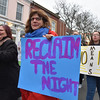 Desi Smith/Staff photo.   Supporters of domestic violence, look to reclaim the night during the Annual Take Back the Night March to end domestic violence Thursday night. The march was led by Mayor Sefatia Romeo Theken along with HAWC and other groups, that started at City Hall steps, and then traveled down Main Street and stopped at Blackburn building parking lot for rally and speaking program.    April 28,2016