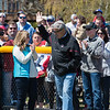 "Desi Smith/Staff photo.   Harold ""Bucky"" Rogers acknowledges the cheers and applause from a large crowd as he enters the field that was named in his honor, during a field dedication after the Gloucester Little League parade and season openner Saturday morning on Dr. Osman Babson Road.   April 30,2016"