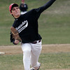 Gloucester: Gloucester pitcher Jason Vizena throws from the mound as Gloucester and Rockport scrimmage at Evans Field yesterday. Photo by Kate Glass/Gloucester Daily Times