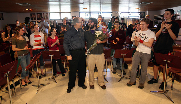 Rockport band director Jim Davison and members of the high school band thank orchestra director Nathan Cohen for filling in to conduct their concert last Monday while Davison was ill. Yesterday was Davison's first day back at work. Photo by Kate Glass/Gloucester Daily Times